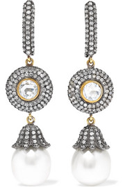 18-karat gold, sterling silver, diamond and pearl earrings