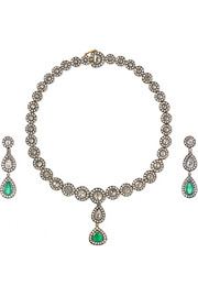 18-karat gold, sterling silver, diamond and emerald necklace and earrings set