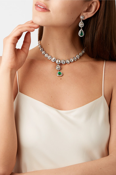 18 Karat Gold Sterling Silver Diamond And Emerald Necklace Earrings Set