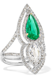 18-karat silver, gold, diamond and emerald ring