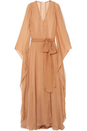 My Cappuccino silk-georgette robe