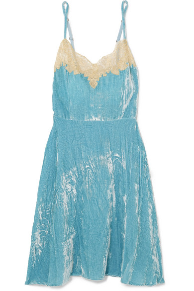 Rosamosario - Bellezza D'amare Lace-trimmed Velvet Chemise - Light blue
