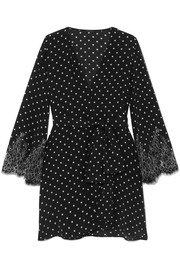 Chaplin's Love Story lace-trimmed polka-dot silk-crepe robe