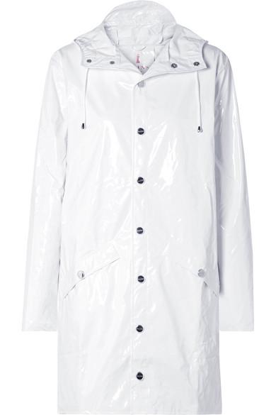Glossed-Pu Rain Coat, White