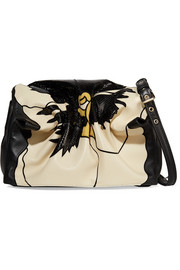 Valentino Valentino Garavani Bloomy floral leather and snakeskin-effect shoulder bag