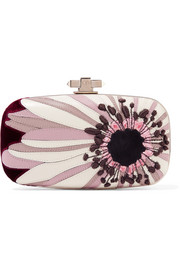 Valentino Carry Secrets velvet and suede-trimmed embroidered leather clutch