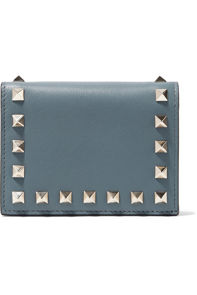 Valentino - Valentino Garavani The Rockstud Leather Wallet - Teal