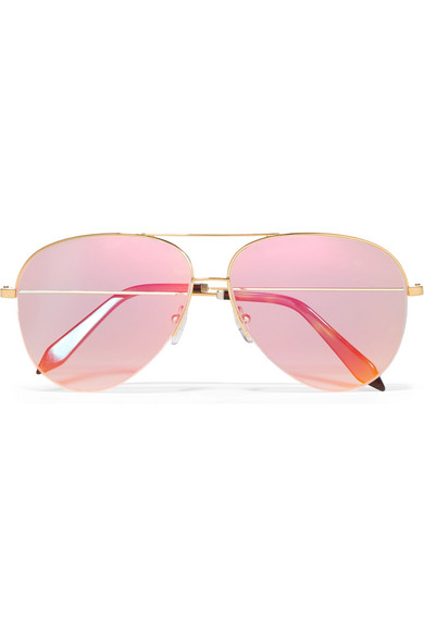 Victoria Beckham - Classic Victoria Aviator-style Gold-tone Holographic Sunglasses