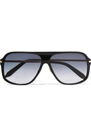 Victoria Beckham D-frame acetate and gold-tone sunglasses