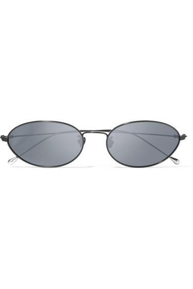 Oval Frame Gunmetal Tone Sunglasses by Ann Demeulemeester