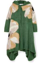 Valentino Hooded embroidered mohair-blend cardigan