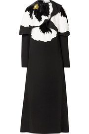 Valentino Cape-effect silk and velvet-trimmed cady midi dress