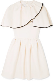 Valentino Ruffled wool and silk-blend grain de poudre mini dress
