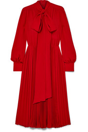 Valentino Pussy-bow pleated silk crepe de chine dress