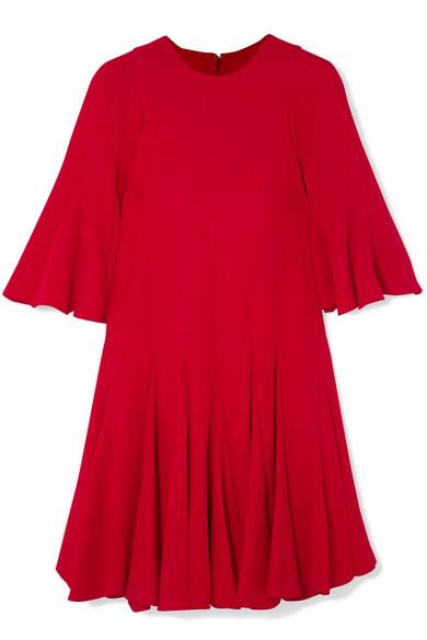 Pleated Silk Crepe De Chine Mini Dress in Red