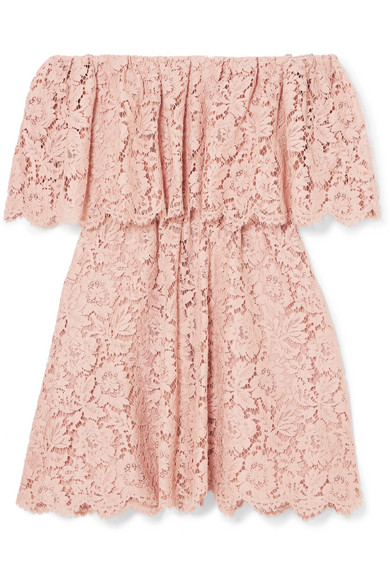 Off The Shoulder Guipure Lace Mini Dress by Valentino