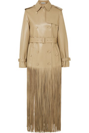 Double-breasted fringed leather trench coat
