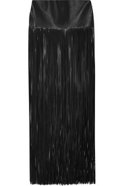 Valentino Fringed leather maxi skirt