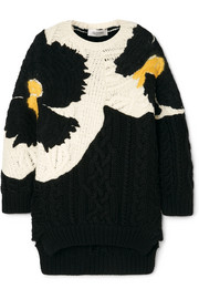 Valentino Oversized embroidered cable-knit wool sweater