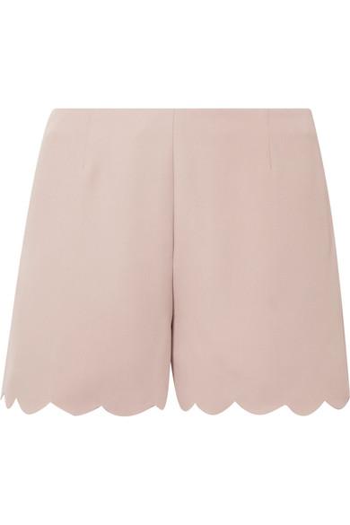 Scalloped Silk-Crepe Shorts, Antique Rose