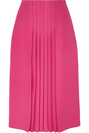 Valentino Pleated silk and wool-blend midi skirt