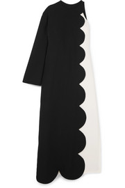 Valentino One-shoulder two-tone silk-crepe maxi dress