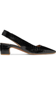 BY FAR Danielle lizard-effect patent-leather slingback pumps
