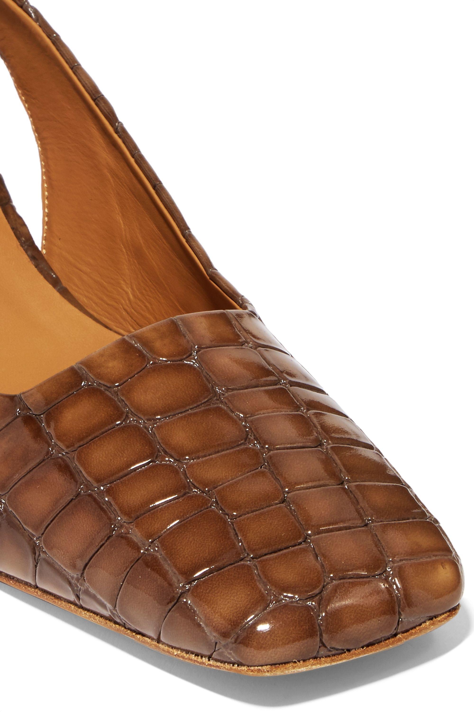 BY FAR Danielle croc-effect leather slingback pumps