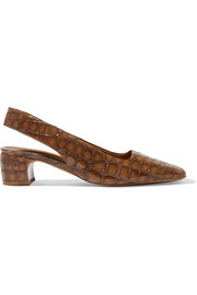 BY FAR Danielle croc-effect leather slingback pumps