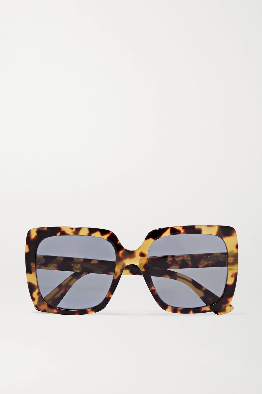 Gucci Oversized-Sonnenbrille mit eckigem Rahmen aus Azetat in Hornoptik und Kristallen