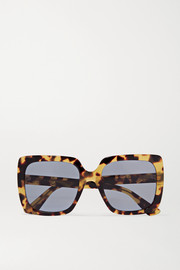 Oversized crystal-embellished square-frame tortoiseshell acetate sunglasses