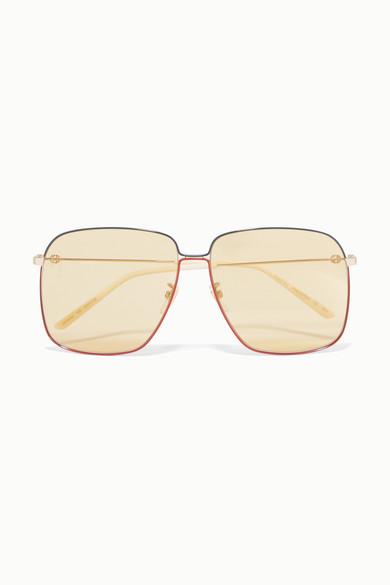 Oversized Square-Frame Gold-Tone Sunglasses