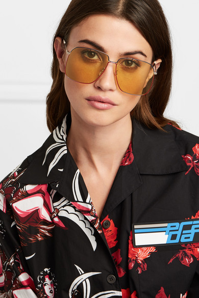 Gucci Sunglasses Oversized square-frame gold-tone sunglasses