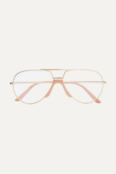 bfa38a80767c Gucci. Aviator-style gold-tone and acetate optical glasses