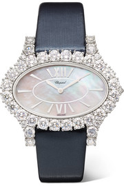 L'Heure du Diamant 27.50mm 18-karat white gold, satin, diamond and mother-of-pearl watch