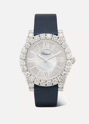 L'Heure du Diamant 35.75mm 18-karat white gold, satin, diamond and mother-of-pearl watch