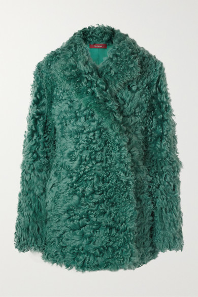Pippa Double-Breasted Shearling Coat in Emerald