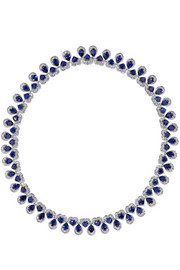 18-karat white gold, sapphire and diamond necklace