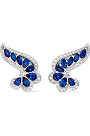 18-karat white gold, sapphire and diamond earrings