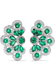 Chopard 18-karat white gold, emerald and diamond earrings