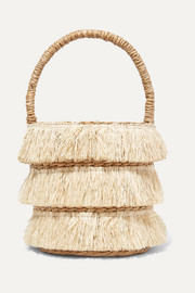 Lolita mini fringed woven straw tote