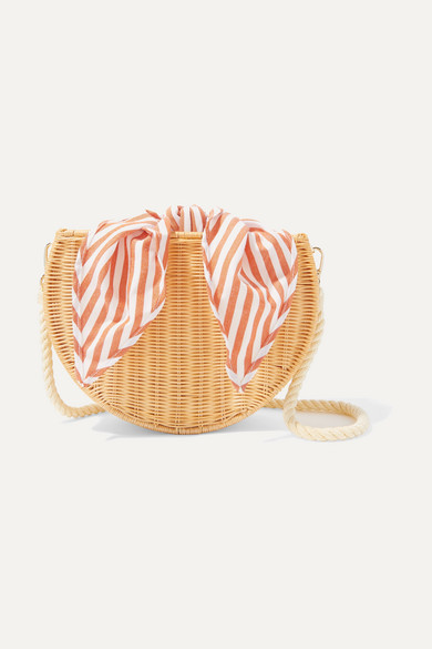 KAYU Dylan Wicker And Striped Cotton-Canvas Shoulder Bag in Beige