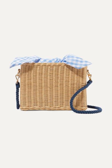 KAYU Chloe Wicker And Gingham Cotton-Canvas Shoulder Bag in Beige