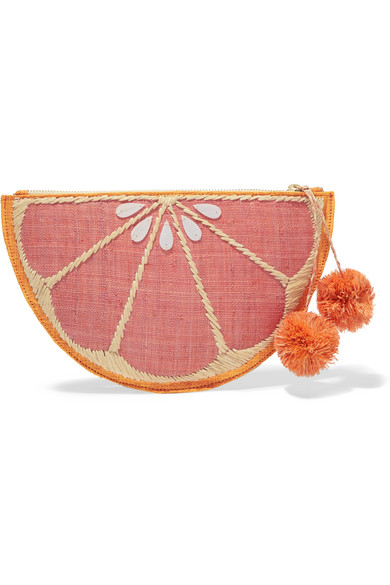 KAYU Pomelo Woven Straw Pouch in Pink