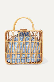 Kayu Safia leather-trimmed rattan and gingham cotton-canvas tote