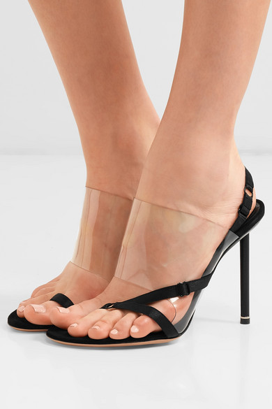 Kaia PVC and suede slingback sandals