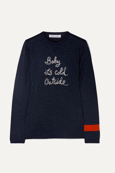 Baby It's Cold Outside Embroidered Metallic Wool Blend Sweater by Bella Freud