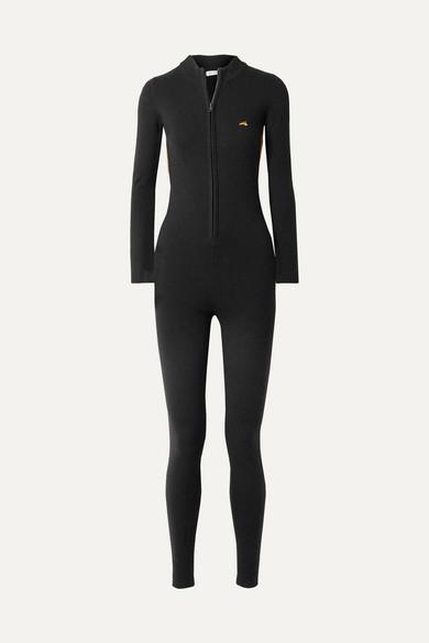 Britt Lurex-Trimmed Wool-Blend Jumpsuit, Black