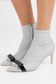 Andie Bow leather-trimmed glittered stretch-knit ankle boots