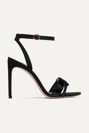 Andie Bow moire-trimmed glittered and patent-leather sandals